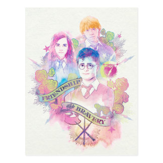 Harry Potter | Harry, Hermione, & Ron Watercolor Postcard