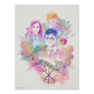 Harry Potter | Harry, Hermione, & Ron Watercolor Poster