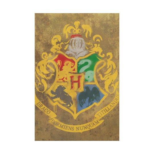 Harry Potter | Hogwarts Crest - Black and White Canvas Print
