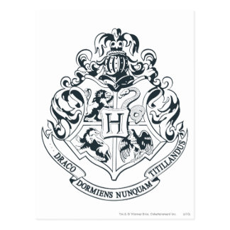 Harry Potter | Hogwarts Crest - Black and White Postcard