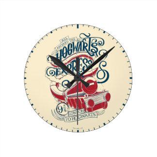 Harry Potter | Hogwarts Express Typography Round Clock