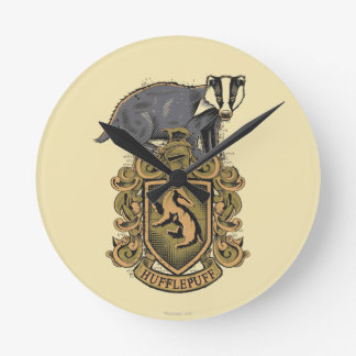 Harry Potter | Hufflepuff Crest with Badger Round Clock