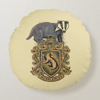 Harry Potter   Hufflepuff Crest with Badger Round Cushion