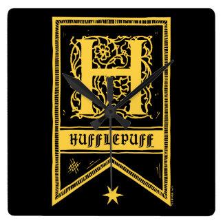 Harry Potter | Hufflepuff Monogram Banner Square Wall Clock