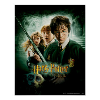 Harry Potter Ron Hermione Dobby Group Shot Poster