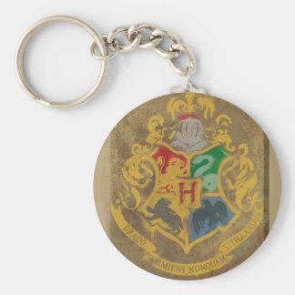 Harry Potter | Rustic Hogwarts Crest Basic Round Button Key Ring