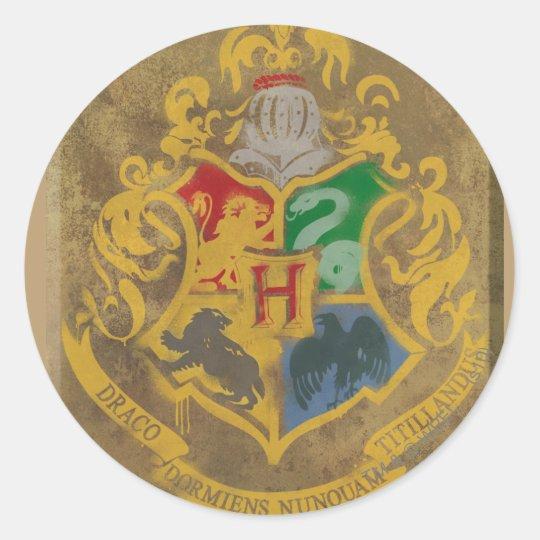 Harry Potter   Rustic Hogwarts Crest Classic Round