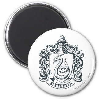 Harry Potter | Slytherin Crest - Black and White 6 Cm Round Magnet