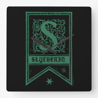 Harry Potter | Slytherin Monogram Banner Square Wall Clock