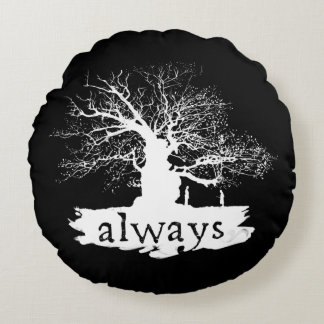 Harry Potter Spell   Always Quote Silhouette Round Cushion
