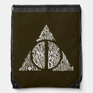 Harry Potter Spell | DEATHLY HALLOWS Typography Gr Drawstring Bag