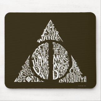 Harry Potter Spell | DEATHLY HALLOWS Typography Gr Mouse Mat
