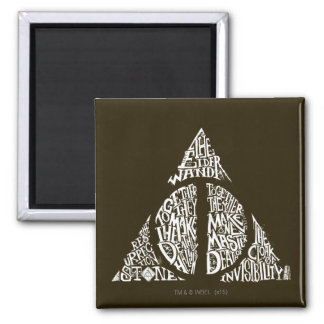 Harry Potter Spell | DEATHLY HALLOWS Typography Gr Square Magnet