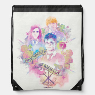 Harry Potter Spell | Harry, Hermione, & Ron Waterc Drawstring Bag