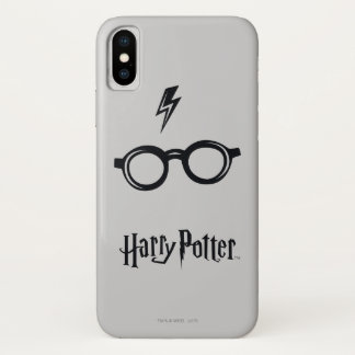 Harry Potter Spell   Lightning Scar and Glasses iPhone X Case