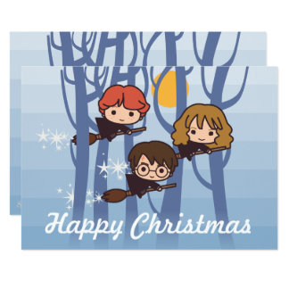 Harry, Ron, & Hermione Flying In Woods Christmas 13 Cm X 18 Cm Invitation Card