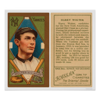 Harry Wolter Yankees Baseball 1911 Poster