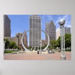 Hart Plaza Sculpture in Detroit MI Poster Print