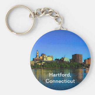 Hartford Connecticut Skyline Cartoon Basic Round Button Key Ring