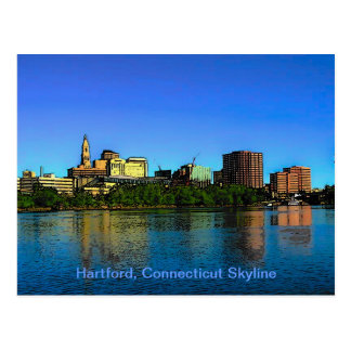 Hartford Connecticut Skyline Cartoon Postcard