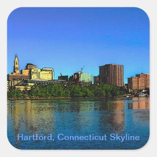 Hartford Connecticut Skyline Cartoon Square Sticker