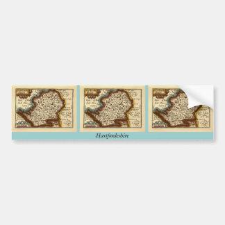 """""""Hartfordeshire"""" Hertfordshire County Map Bumper Sticker"""