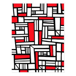 Hartzell Abstract Expression Red White Black Postcard