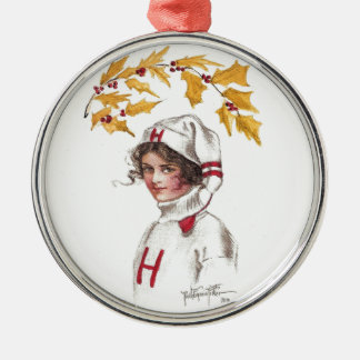 Harvard Coed in Winter with Holly Branch Christmas Ornament
