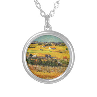 Harvest at La Crau, with Montmajour... Silver Plated Necklace