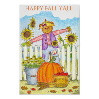 Harvest Bear Happy Fall Y'All Poster