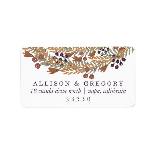 Harvest Berry Wreath Return Address Label