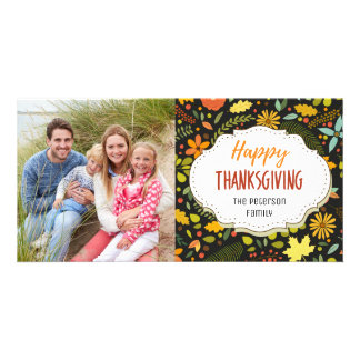 Harvest Flowers Thanksgiving Picture Photo Card