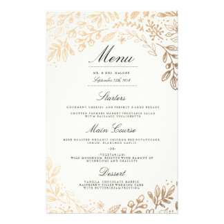 Harvest Flowers Wedding Dinner Menu 14 Cm X 21.5 Cm Flyer