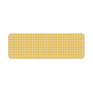 Harvest Gold and White Gingham Check Plaid Pattern Return Address Label