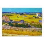 Harvest Landscape with Blue Cart Vincent Van Gogh Note Card