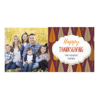 Harvest Leaves Thanksgiving Picture Photo Card