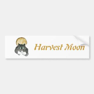 Harvest Moon and Tuxedo Cat Car Bumper Sticker