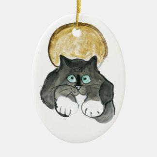 Harvest Moon and Tuxedo Cat Ceramic Oval Decoration
