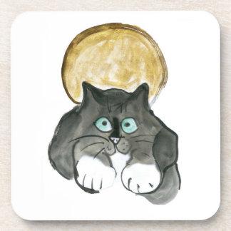Harvest Moon and Tuxedo Cat Coaster