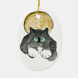 Harvest Moon and Tuxedo Cat Ceramic Oval Decoration