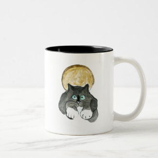 Harvest Moon and Tuxedo Cat Coffee Mugs