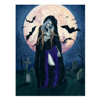 Harvest Moon Halloween Witch Postcard
