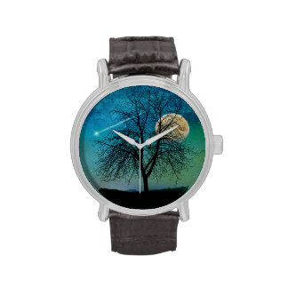 Harvest moon, Shooting star Tree silhouette, watch