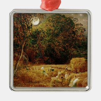 Harvest Moon Silver-Colored Square Decoration