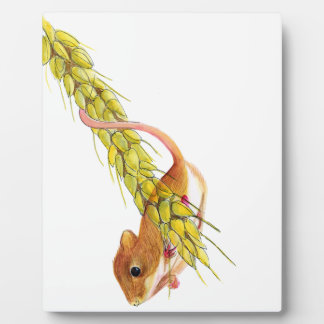 Harvest Mouse on Ear of Wheat Watercolour Painting Photo Plaque