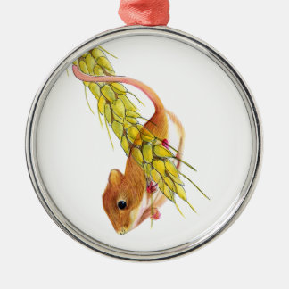 Harvest Mouse on Ear of Wheat Watercolour Painting Silver-Colored Round Decoration