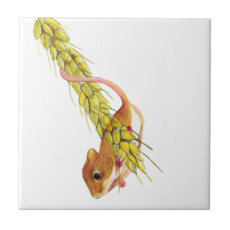 Harvest Mouse on Ear of Wheat Watercolour Painting Tile