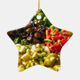 Harvest of Chilies Ceramic Star Decoration