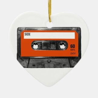 Harvest Orange Cassette Ceramic Heart Decoration