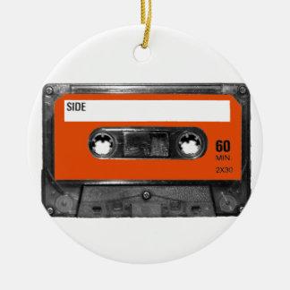 Harvest Orange Cassette Round Ceramic Decoration